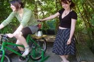 Two people with pedal power bike - Adamsdown Community Garden